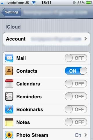 iCloud Settings in iPhone iOs